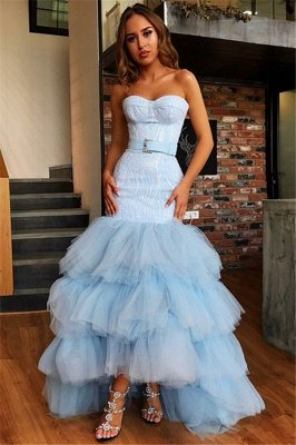 Stunning Tulle Strapless Sleeveless High-Low Prom Dress