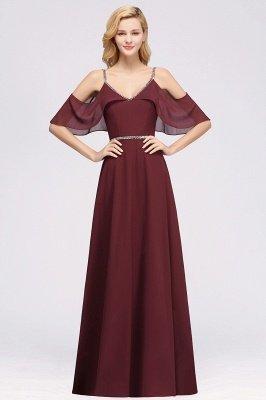 Elegant A-line Chiffon V-Neck Spaghetti Straps Sleeveless Floor-Length Bridesmaid Dresses with Beading Sash_1