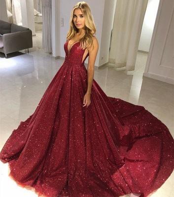 Fashion A-Line Straps Sleeveless V-Neck Floor-Length Prom Dress_4