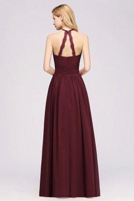 A-line Chiffon Appliques Halter Sleeveless Floor-Length Bridesmaid Dresses with Ruffles_2