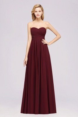 A-line Chiffon Sweetheart Strapless Ruffles Floor-length Bridesmaid Dress_1