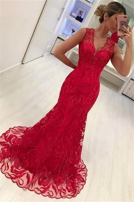 Mermaid Appliques Straps Sleeveless V-Neck Long Prom Dress