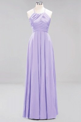 A-Line Chiffon Halter Ruffles Floor-Length Bridesmaid Dress_20