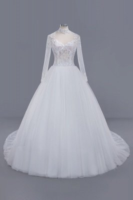 Elegant Tulle Lace Ball Gown High-Neck Long-Sleeves Floor Length Wedding Dress