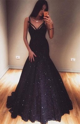 Fashion Mermaid Spaghetti-Straps Sleeveless Floor-Length Prom Dress