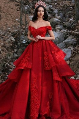 Charming Ball Gown Appliques Off-the-Shoulder Sleeveless Prom Dress_1