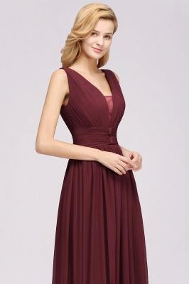 Weinrote Brautjungfernkleider Aus Chiffon | Elegantes Brautjungfer Kleid Bodenlang_7