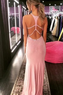 Elegant Mermaid Halter Long Prom Dresses with Crystal_5