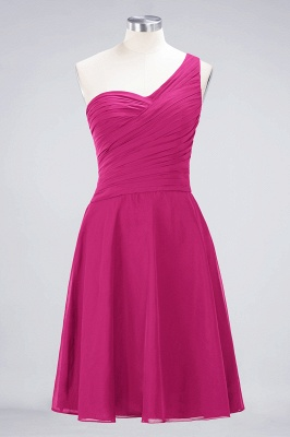 Chiffon A-Line One-Shoulder Sweetheart Sleeveless Short Bridesmaid Dress with Ruffles_9