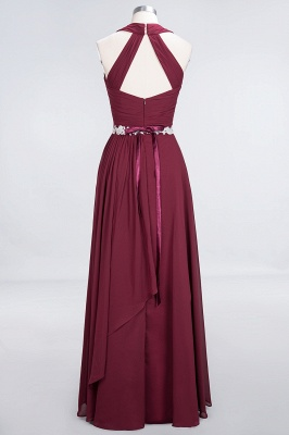 Chiffon A-Line Halter V-Neck Sleeveless Ruffle Long Bridesmaid Dress with Appliques Sashes_10