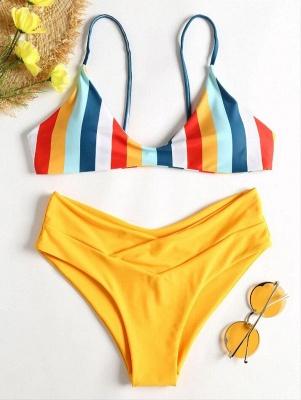 Striped High Leg Cami Bikini_2