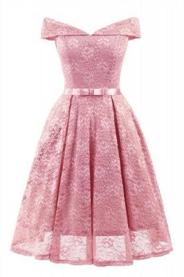 Retro Lace Off-the-shoudler Dress Elegant Cocktail Party Cap Sleeve A Line Vintage Dress_2