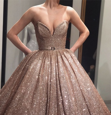 Charming Strapless Sleeveless Ball Gown Sweep Train Prom Dresses_3