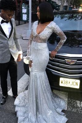 Unique V-Neck Long Sleeves Sequins Mermaid Floor-Length Prom Dresses_2