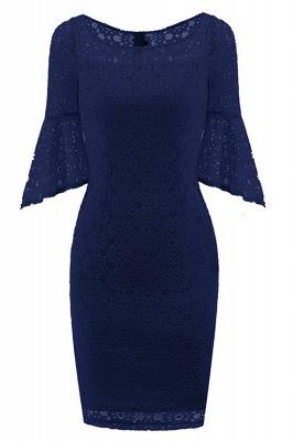 New Sky Blue Half Sleeve Lace Dress_3