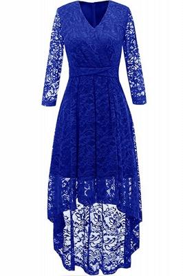 Pink High Low Dress Princess Date Dress Half Sleeve Elegant V-neck Lace Dress_4