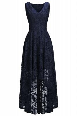 A-line Hi-lo V-neck Sleeveless Burgundy Lace Dresses_6