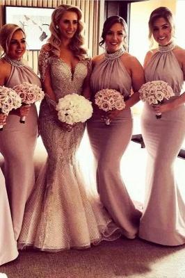 Элегантные платья невесты Холтер Русалка | Сексуальные рюши длинные свадебные платья_2