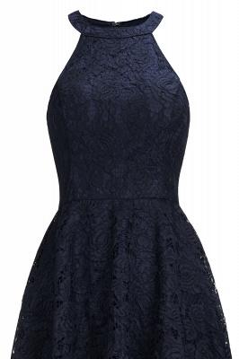 Halter Sleeveless Sheath Asymmetrical Burgundy Lace Dresses_9