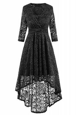 Pink High Low Dress Princess Date Dress Half Sleeve Elegant V-neck Lace Dress_6