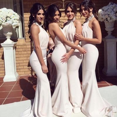 Элегантные платья невесты Холтер Русалка | Сексуальные рюши длинные свадебные платья_4