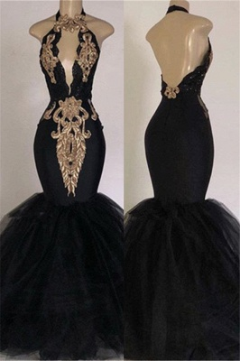 Sexy Backless Prom Dresses with Gold Appliques | Mermaid Halter Evening Gowns with Keyhole_1