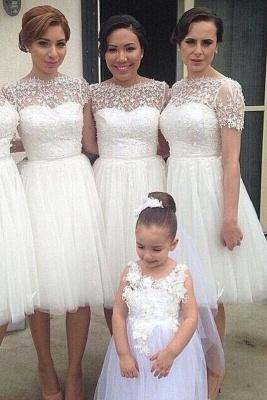 Manches courtes longueur au genou tulle robe de soirée de mariage pas cher en dentelle courte robe de demoiselle d'honneur_1