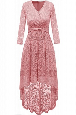 Pink High Low Dress Princess Date Dress Half Sleeve Elegant V-neck Lace Dress_1