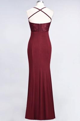 Spandex Lace Mermaid Spaghetti-Straps Sleeveless Long Bridesmaid Dress with Ruffle_32