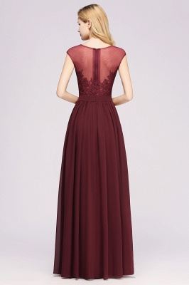 A-line Chiffon Lace Jewel Sleeveless Floor-Length Bridesmaid Dresses with Appliques_2