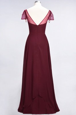 Chiffon A-Line Sweetheart Cap-Sleeves Ruffle Long Bridesmaid Dress with Beadings_8