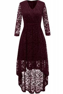 Pink High Low Dress Princess Date Dress Half Sleeve Elegant V-neck Lace Dress_2