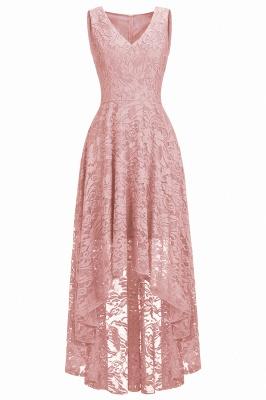A-line Hi-lo V-neck Sleeveless Burgundy Lace Dresses_5