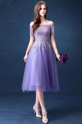 ADILYNN | A-line Bateau Tulle Prom Dress with Appliques_2