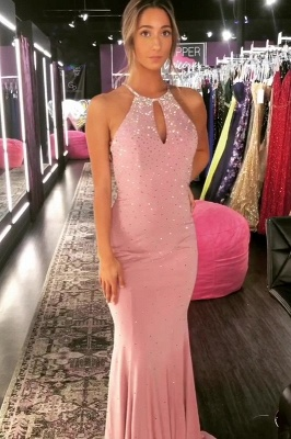 Elegant Mermaid Halter Long Prom Dresses with Crystal_4