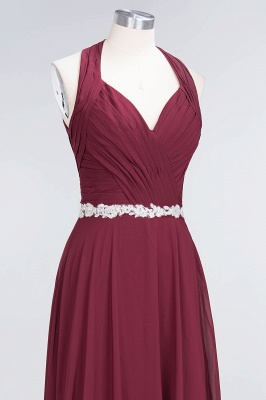 Chiffon A-Line Halter V-Neck Sleeveless Ruffle Long Bridesmaid Dress with Appliques Sashes_12