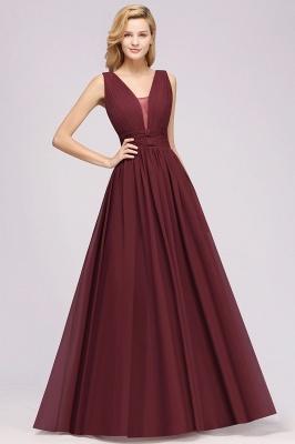 Weinrote Brautjungfernkleider Aus Chiffon | Elegantes Brautjungfer Kleid Bodenlang_5