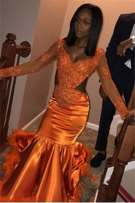 Chic V-Neck Long Sleeves Appliques Tulle Sequins Mermaid Floor-Length Prom Dresses_4
