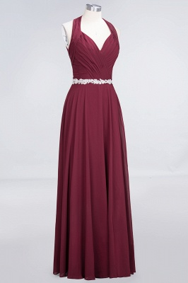 Chiffon A-Line Halter V-Neck Sleeveless Ruffle Long Bridesmaid Dress with Appliques Sashes_11