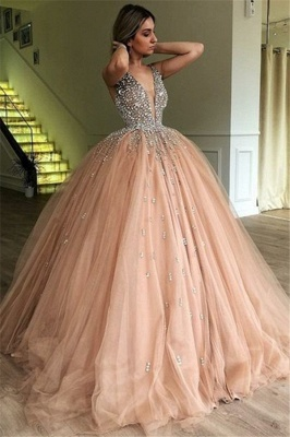 Chic V-Neck Straps Sleeveless Rhinestones Tulle Ball Gown Prom Dresses_1