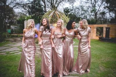 Сексуальные платья невесты блесток | Длинные свадебные платья из розового золота_4