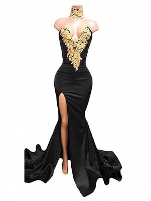 THERESIA | Mermaid High Neck Front-Split Burgundy Lace Appliques Prom Dresses_3