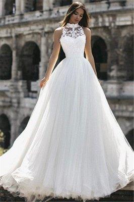 Elegant High Neck Sleeveless Appliques A-Line Floor-Length Wedding Dresses_4