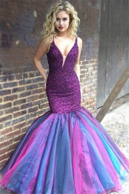 Elegant V-Neck Sleeveless Spaghetti Straps Rhinestones Mermaid Floor-Length Prom Dresses