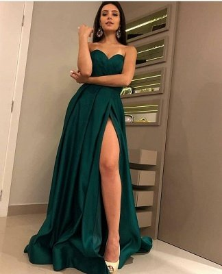 Chic Strapless Front Split Sleeveless Floor-Length A-Line Prom Dresses_4