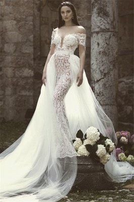 Elegant Off-the-Shoulder V-Neck Appliques Tulle Mermaid Floor-Length Wedding Dresses