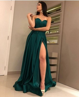 Chic Strapless Front Split Sleeveless Floor-Length A-Line Prom Dresses_3