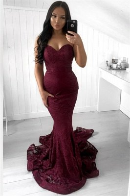 Stunning Sleeveless Strapless Appliques Mermaid Sweep Train Prom Dresses