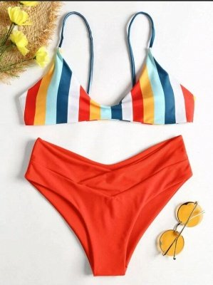Striped High Leg Cami Bikini_1