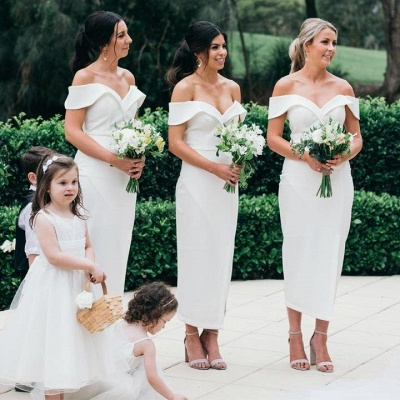Off The Shoulder Sexy Bridesmaid Dresses | Front Split White Maid of Honor Dress_3